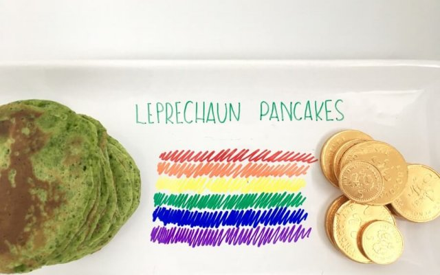 St Patrick's Day 'Leprechaun' spinach pancakes
